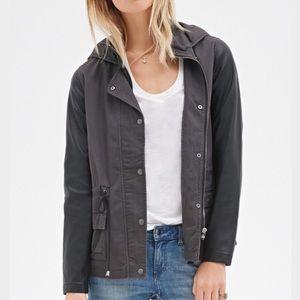 Black/ Grey Leather Utility Jacket